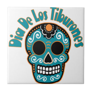 Dia De Los Tiburones.png Ceramic Tiles