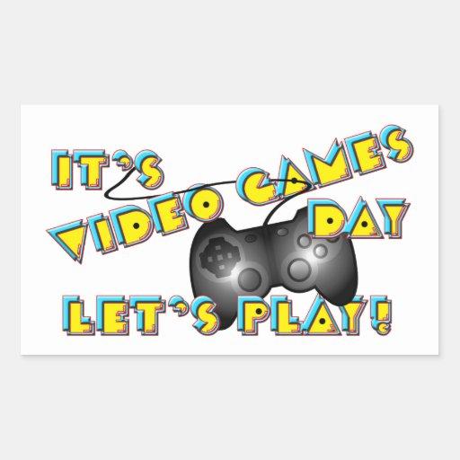 Día de los videojuegos pegatina rectangular