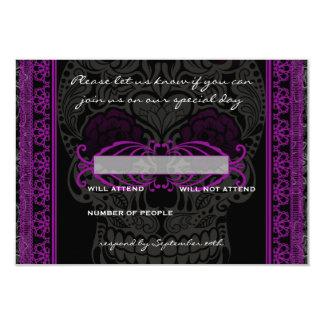 Día de lujo del cráneo del azúcar del cordón de invitación 8,9 x 12,7 cm