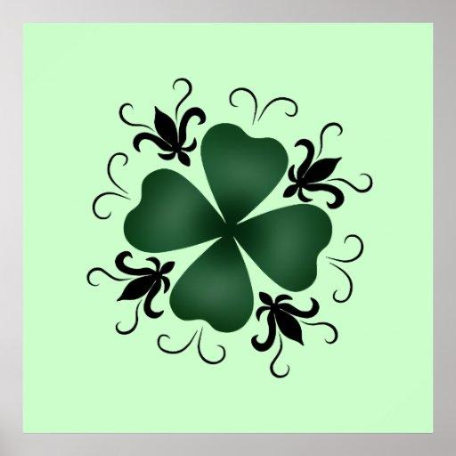 Día de lujo del St Patricks del trébol del Poster