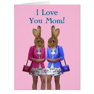 Día de madres animal divertido tarjeta de felicitación grande