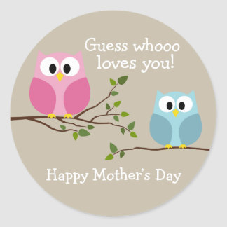 Día de madres - búhos lindos - Whooo le ama Pegatina Redonda