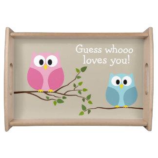 Día de madres - búhos lindos - Whooo le ama Bandeja