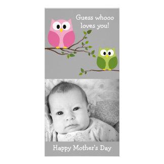 Día de madres - búhos lindos - Whooo le ama Tarjetas Personales