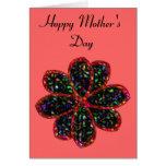 Día de madres de encargo de la flor negra y roja tarjeta de felicitación