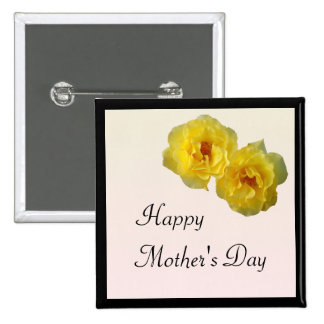 Día de madres de los rosas amarillos pin cuadrada 5 cm