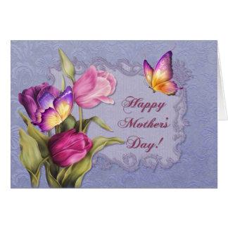 Día de madres de los tulipanes y de las mariposas tarjeta de felicitación