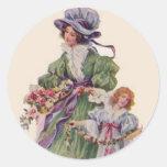 Día de madres del vintage pegatina redonda