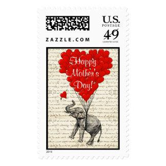 Día de madres divertido del elefante del vintage sellos
