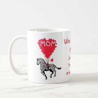 Día de madres divertido personalizado de la cebra tazas de café