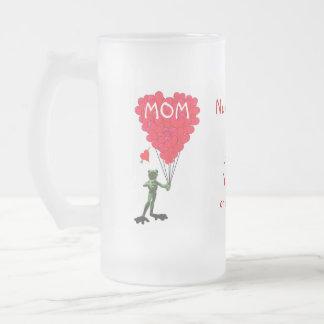 Día de madres divertido personalizado de la rana taza