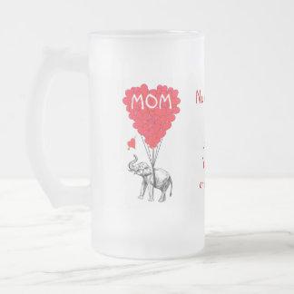 Día de madres divertido personalizado jarra de cerveza esmerilada