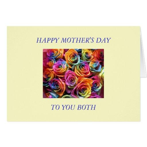 Día de madres feliz a mis dos mamáes tarjeta de felicitación