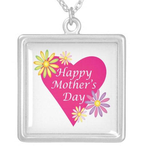 Día de madres feliz collar plateado