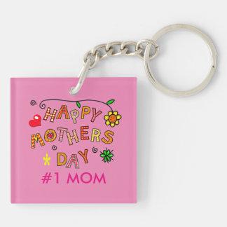 Día de madres feliz con el corazón y la flor llavero cuadrado acrílico a doble cara