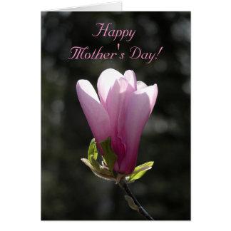 Día de madres feliz de la flor rosada de la tarjeta de felicitación