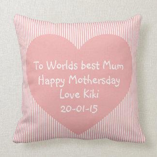 Día de madres feliz de la mejor mamá de los mundos cojín