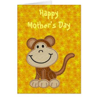 Día de madres feliz de su pequeño mono tarjeta