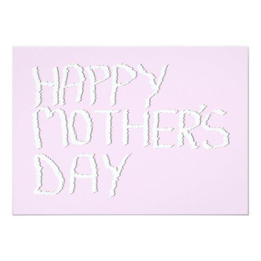 Día de madres feliz. En rosa y blanco. Invitación 12,7 X 17,8 Cm