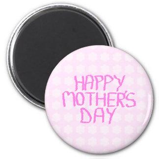 Día de madres feliz. Estampado de plores rosado Imán Redondo 5 Cm