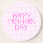 Día de madres feliz. Estampado de plores rosado Posavasos Manualidades