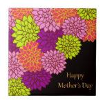 Día de madres feliz floral azulejos cerámicos
