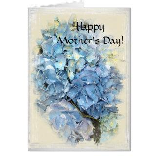 Día de madres feliz floral del Hydrangea azul Tarjeta De Felicitación