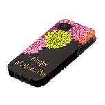 Día de madres feliz floral Case-Mate iPhone 4 carcasa