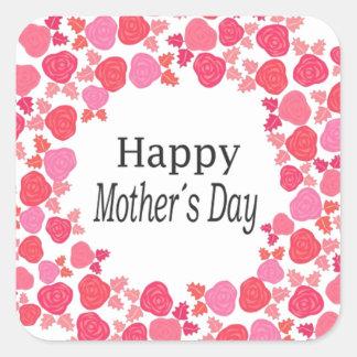 Día de madres feliz floral pegatina cuadrada