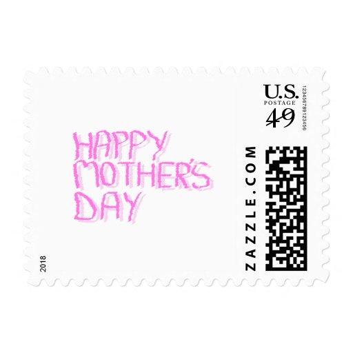 Día de madres feliz.  Letras rosadas Franqueo
