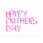 Día de madres feliz.  Letras rosadas Postal