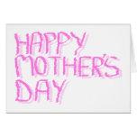Día de madres feliz.  Letras rosadas Tarjeta De Felicitación