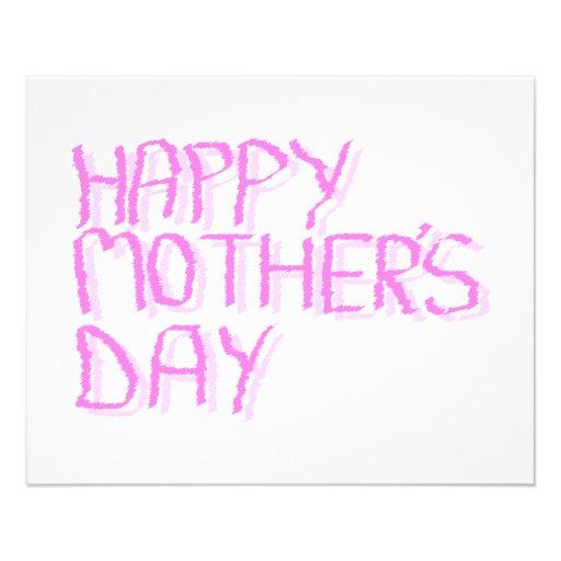 Día de madres feliz.  Letras rosadas Tarjetón