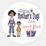 Día de madres feliz - niños y presente pegatinas redondas