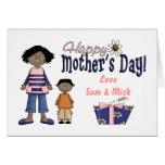 Día de madres feliz - niños y presente tarjeta