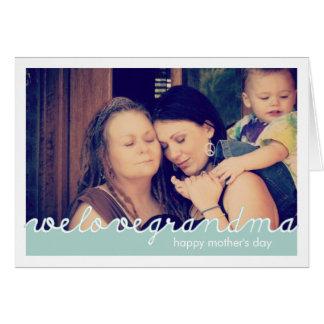 Día de madres feliz para el blanco azul de la foto tarjeta de felicitación
