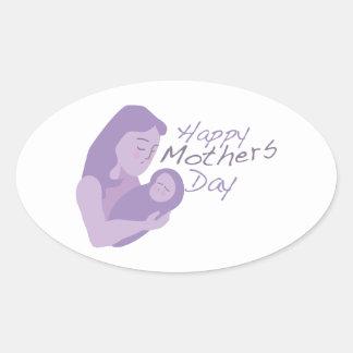 Día de madres feliz pegatina oval personalizadas