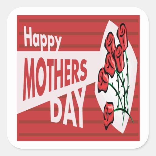 Día de madres feliz pegatina cuadrada