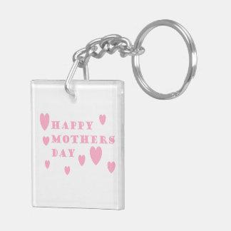 Día de madres feliz rosado llavero cuadrado acrílico a doble cara