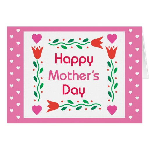 Día de madres feliz - tulipanes con los corazones  tarjeta