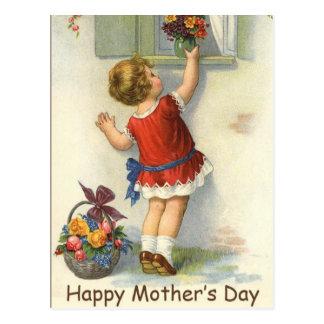 Día de madres feliz - vintage tarjeta postal