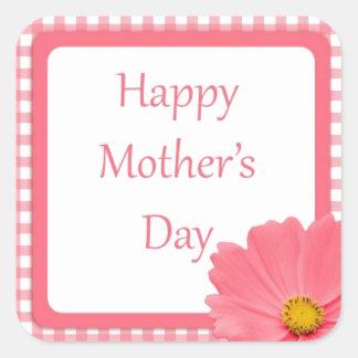 Día de madres floral del control rosado colcomanias cuadradas