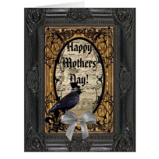Día de madres gótico romántico del cuervo tarjeta de felicitación grande