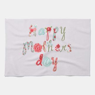 Día de madres Letra-Feliz de la flor colorida Toallas De Cocina