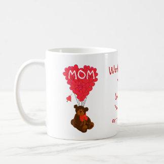 Día de madres personalizado del oso de peluche taza