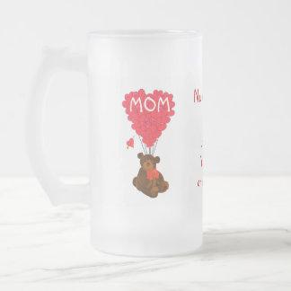 Día de madres personalizado del oso de peluche taza de cristal