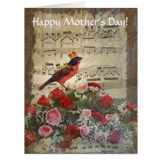 Día de madres romántico del collage del vintage tarjeta de felicitación grande