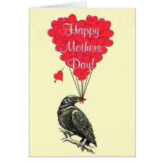 Día de madres romántico del cuervo tarjeta de felicitación
