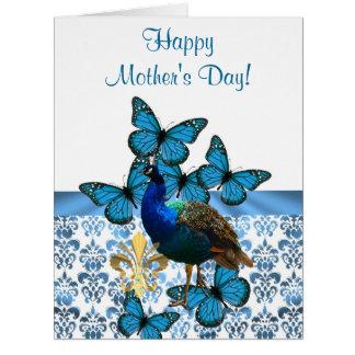 Día de madres romántico del pavo real tarjeta de felicitación grande
