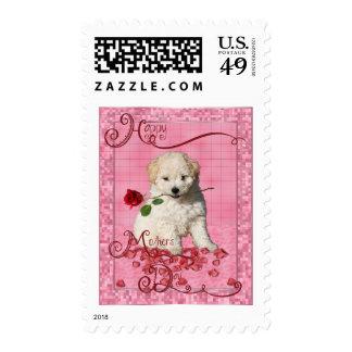 Día de madres - rosa rojo - perrito de Bichon Sellos
